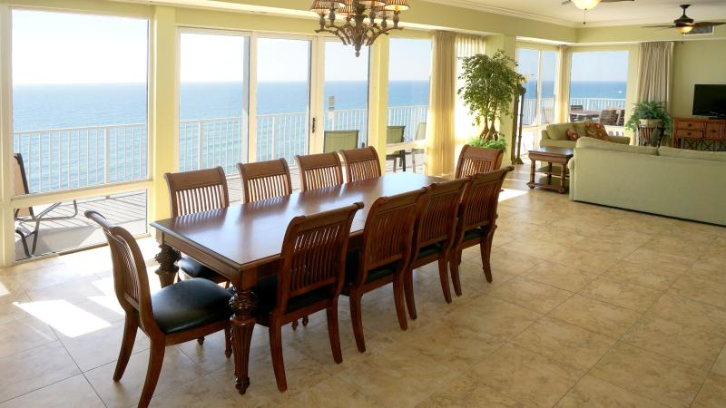Beach front living room/dining room and kitchen as well as 2 beach front masters - 4 Bedroom PENTHOUSE * 2 Gulf Front Master Suites - Panama City Beach - rentals