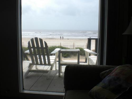 View from inside/front porch - Ocean/Beach Front Home in Surfside Beach, TX - Surfside Beach - rentals