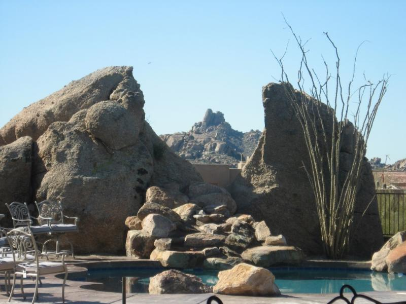 Pool/Spa Natural Boulders view of Pinnacle Peak mountain in between the boulders - LUXURY UPSCALE NEAR GOLF COURSES GATED POOL/SPA - Carefree - rentals