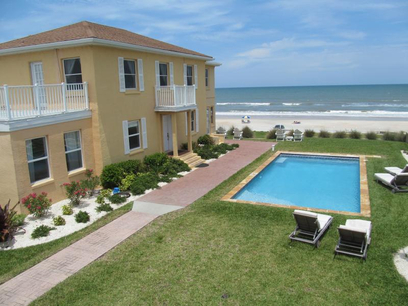 View of main house and beach from apartment balcony - FAMILY FRIENDLY BEACHFRONT POOL HOME - Ormond Beach - rentals