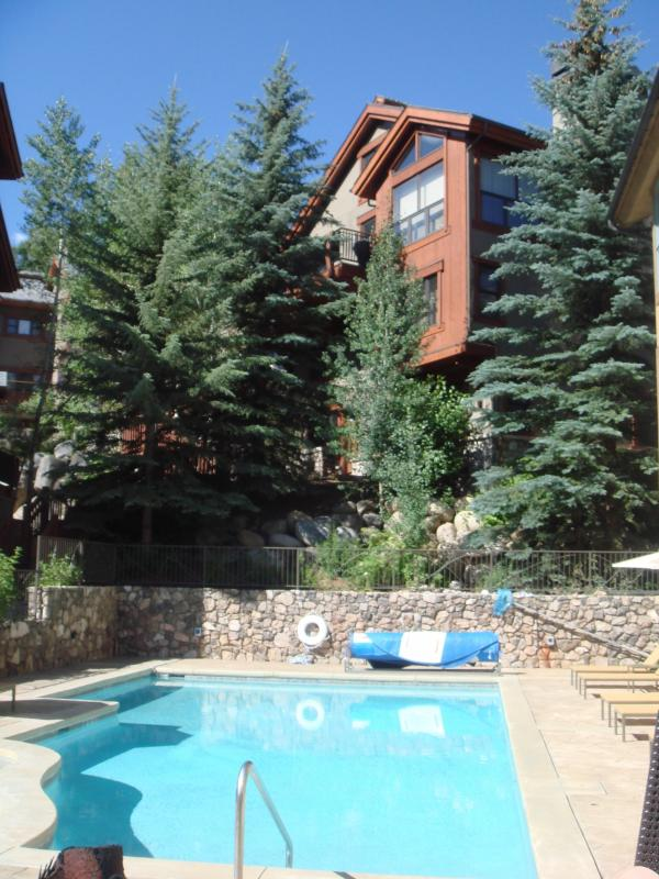 View from the Pool, heated in winter - Ski In/Out, Arguably closest home to lift with mountain views, luxurious - Eagle-Vail - rentals