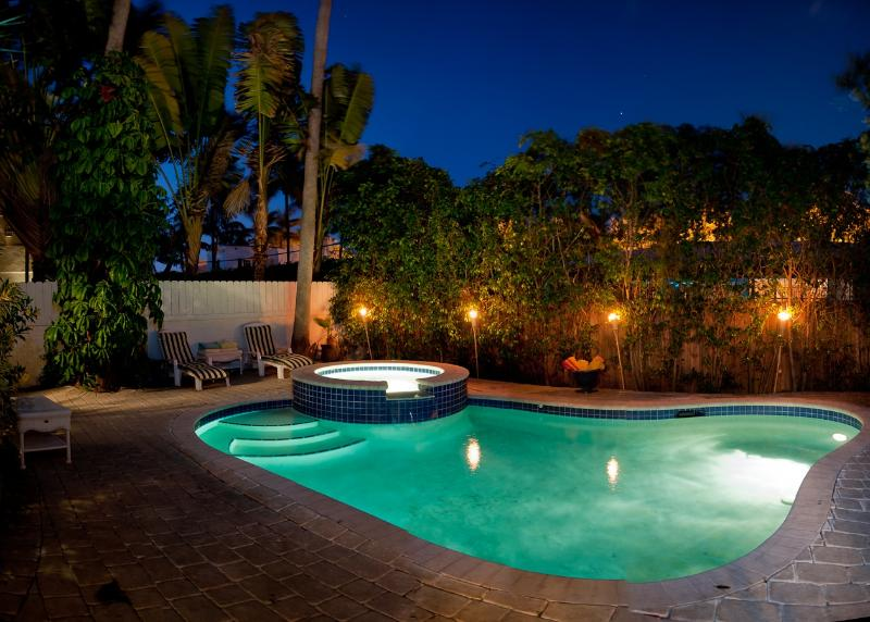 Pool at Night - The Celebrity  South Beach Villa - Miami Beach - rentals