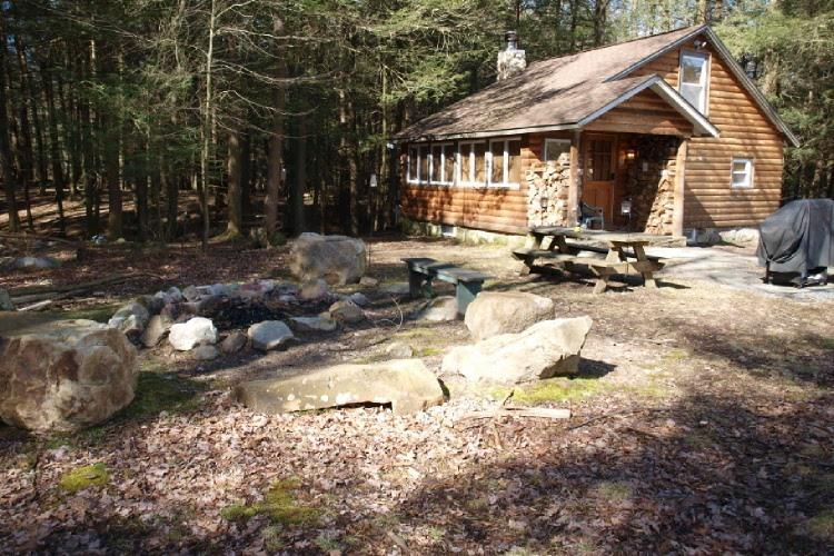 Campfire pit by cabin - Secluded Log Cabin - Saylorsburg - rentals