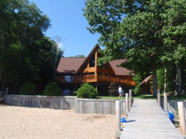 view from beach - Beautiful cottage hide-a-way on inland lake! - Brimley - rentals