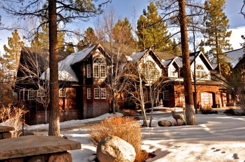 Gorgeous, snowy estate driveway entrance - Big Bear Whispering Pines Estate - Big Bear City - rentals