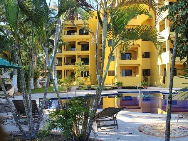 Villas Marena view from the beach.Condo is on 3rd floor giving me privacy/safety - Condo Rental, Studio, Las Ayalas, Beach Front - Los Ayala - rentals