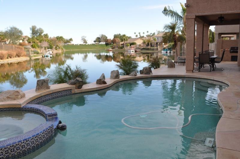Pool area with lake - ANNUAL LAKE HOUSE RENTAL ONLY - Chandler - rentals