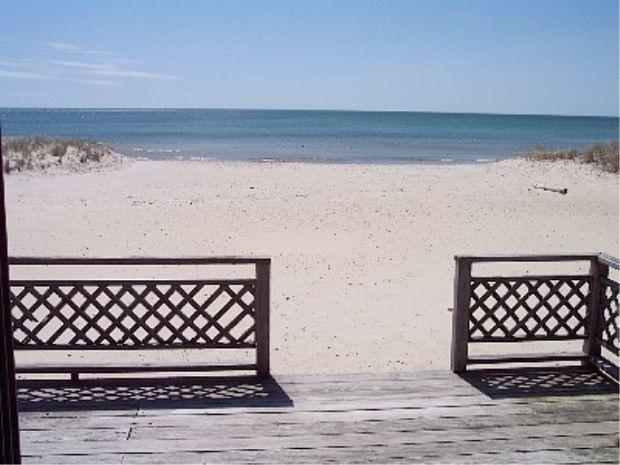 View of  beach from deck - Ocean Front House.Directly on the beach. - West Dennis - rentals