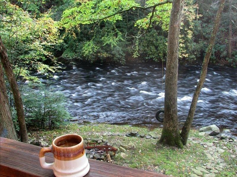 This is view from upper deck by Big Bushkill trout stocked stream - Bushkill Creek Waterfront Chalet - East Stroudsburg - rentals