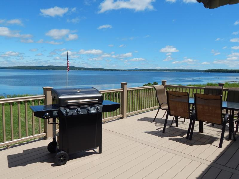 Back Deck with Grill (Propane provided) - Cape Jellison Waterfront!!  Incredible Views!! - Stockton Springs - rentals