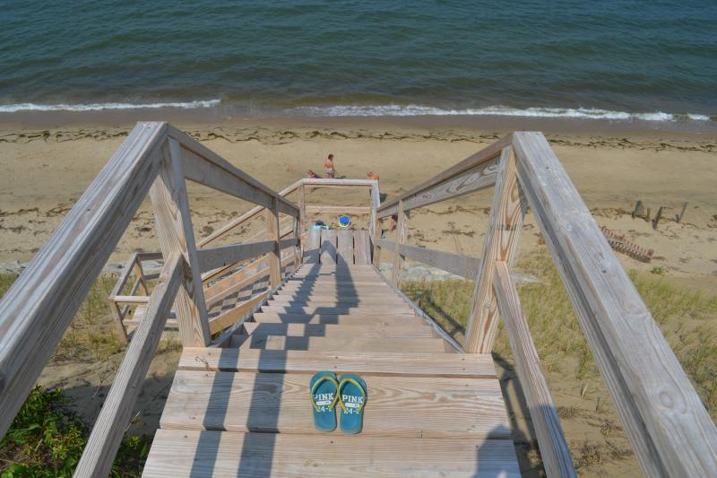 Stairs from the observation deck provide access to your own private beach. - Eastham MA 4 BDR Waterfront Pre-Reserve 2017 - North Eastham - rentals