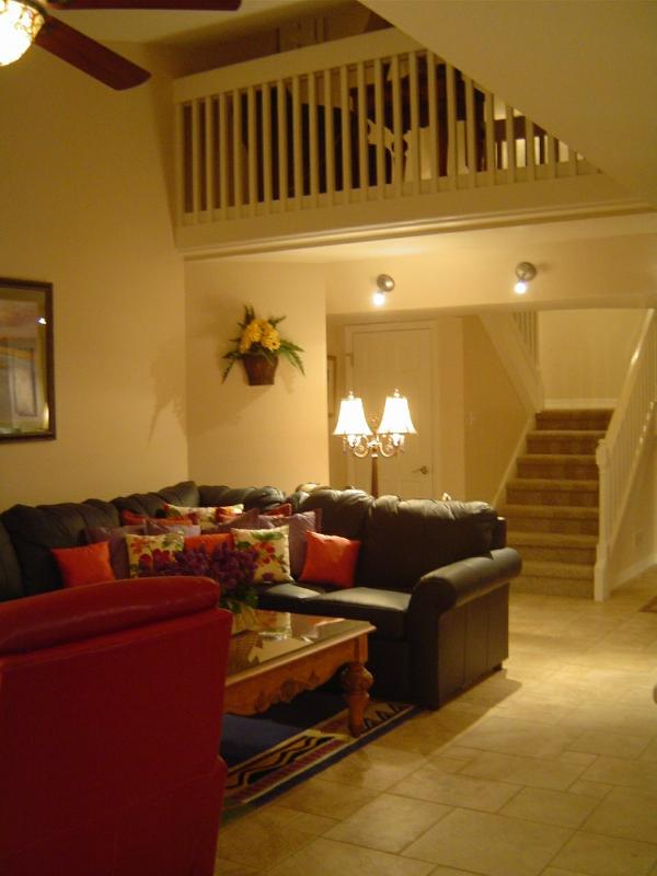 Great Room-Living Room with View of Loft - Deluxe Golf Villa-Gated-Private Beach Access - Pawleys Island - rentals