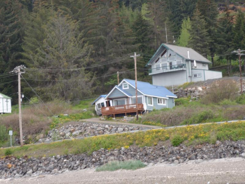 It is the house with the blue roof.  a little house with lots of space. - fishing, fly fishing, bears, eagles,whales, - Hoonah - rentals