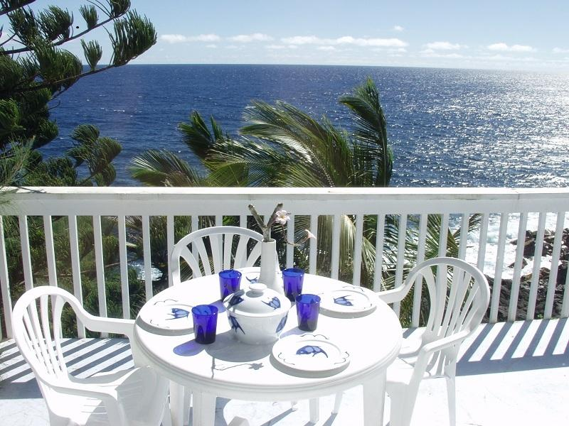 Dining on the oceanfront deck - Oceanfront home in beautiful tropical area - Kaimu - rentals