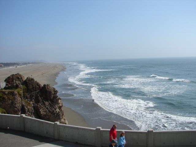 View of beach from nearby Cliff House - Pacific Ocean Beach House - San Francisco - rentals