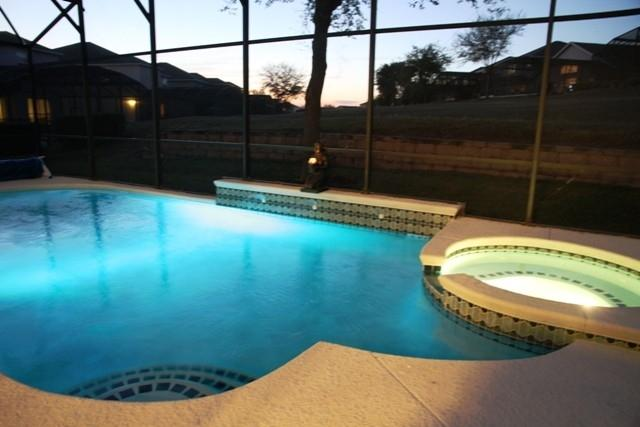Pool with changing light - 7 Beds, 5.5 Baths Sw Facing Pool, Wi-Fi, Gameroom - Four Corners - rentals
