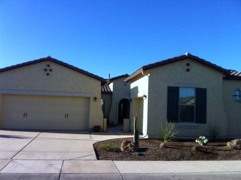 Exterior of our vacation home with 3 car garage and courtyard - Fantastic New Gated Adult Community Rental - Goodyear - rentals