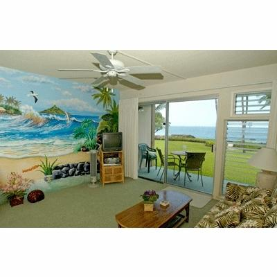 "View from living room - of patio & ocean beyond - Oceanfront condo, ""fully-furnished"" - Kailua-Kona - rentals"