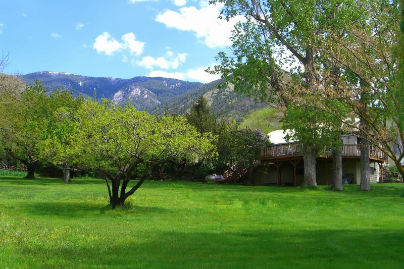 Rear of home with elevated deck faces the Salmon River and 2.5 acre yard. - Lucile Guest House on The Main Salmon River - Lucile - rentals