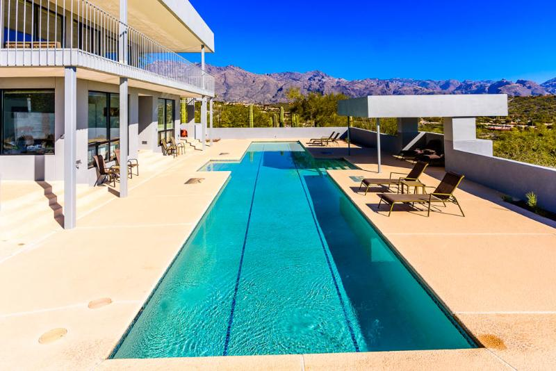 Private deck and large lap pool with spectacular views in every direction. - Luxury Retreat with Skyline Views and Private Pool - Tucson - rentals