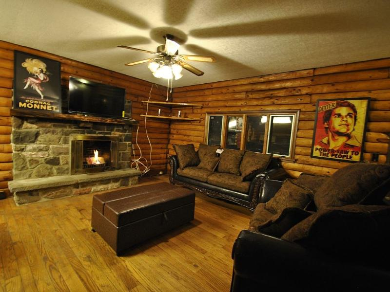 My favorite Living Room Pic, there is a secret cot in that futon! Enjoy! - Beautiful Log Home w/Hot Tub, min's to Camelback! - Cresco - rentals