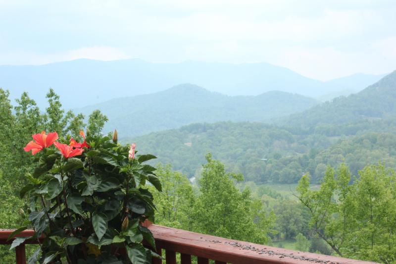 The summertime view from the deck. - 5-Stars Vacation Home Romantic Luxury Cabin w/ Beautiful Views! - Hayesville - rentals