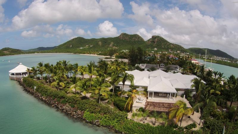 Palm Point sits proudly on the peninsular entrance to Jolly Harbour - Palm Point, Antigua - Luxury Beachfront Villa - Jolly Harbour - rentals