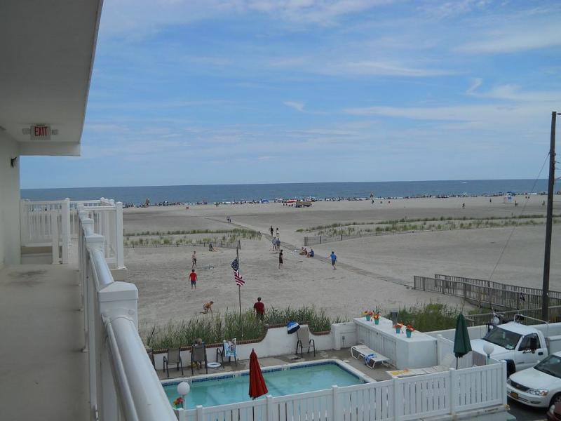 Look at that view! From balcony - Beach Front, Top Floor, 2 BR Heated Pool - Wildwood Crest - rentals