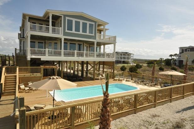 View from the beach! - Oceanfront - 16 Bedrooms / 17 Bath-Sleeps 32 to 50 - Holden Beach - rentals