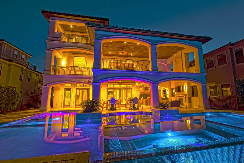 Spectacular Night View of Back Featuring a Large Private Pool and Infinity Spa - 5 O'Clock Somewhere: Private Large Pool & Hot Tub - Destin - rentals