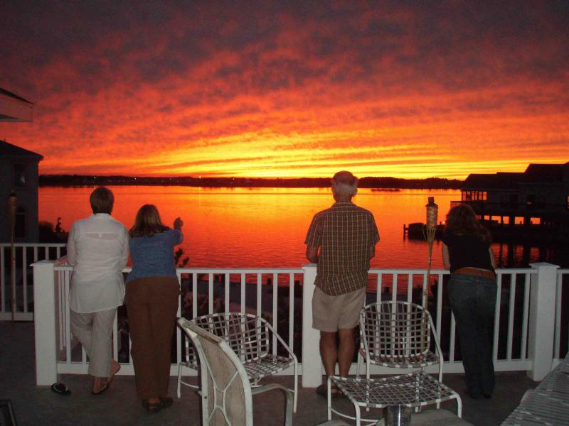 Enjoy spectacular sunsets from top level deck. Deck has dining tables for 14 - Sunset -   300 OFF WKEND- 500 WKS - Fenwick Island - rentals