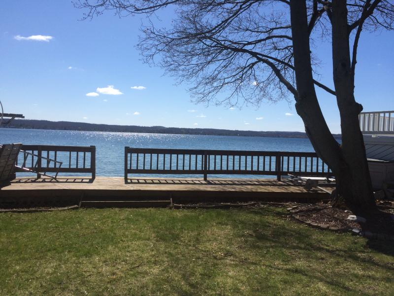 Lake View from Front yard - Sunny Cottage with Lake Side Deck and Lawn - Canandaigua Lake - rentals