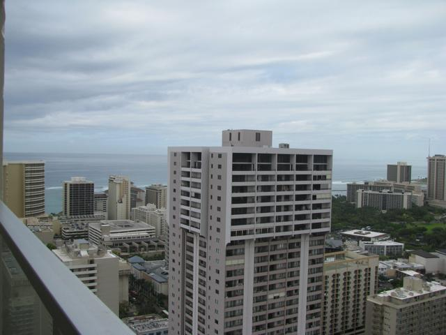 Great ocean, city and mountain views from the  lanai on 44th floor - Penthouse Ocean View Studio 4406,  44th floor! - Honolulu - rentals