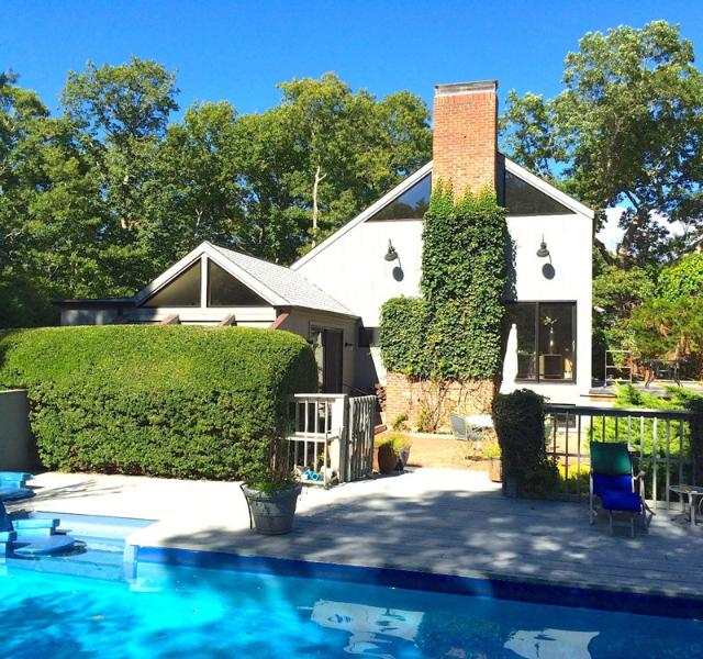 Brick Dining Patio (furnished). Viewed from gated pool and furnished pool deck. Completely private. - Loft in a SaltBox - East Hampton - rentals