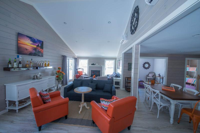 """The """"bar"""" at Lupine is a great set up for relaxing, chatting, playing games etc - New luxury south ME coast home; in town; sleep 26. - Kennebunkport - rentals"""