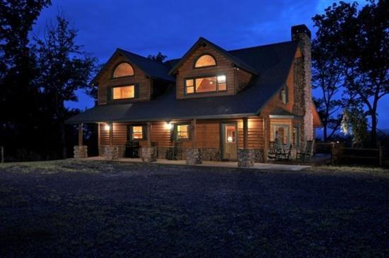 Sky High Sanctuary at dusk - Sky High Sanctuary Custom Canadian Log Home - Ellijay - rentals