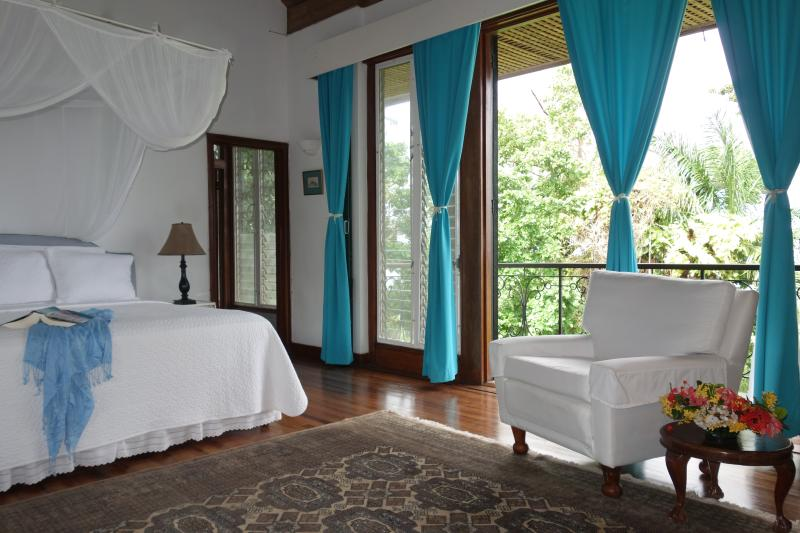 Elegant master bedroom suite:  balconies on both sides for views and ocean breezes - Jamaica Vacation Private Estate 6 bd/bth, 5 staff - Port Antonio - rentals