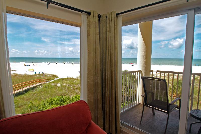 View of the beach and water from the Living room and Balcony - Sunset Vistas, Treasure Island, FL Beach Front 2/2 - Treasure Island - rentals