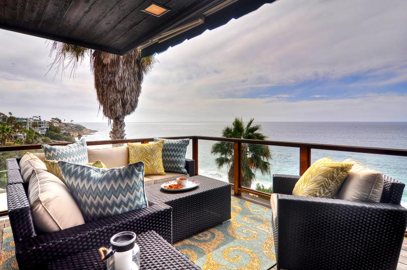 This beautiful ocean view deck is a wonderful place to relax or socialize!! - Beachfront Luxury Laguna Beach Home - from Owner - Laguna Beach - rentals
