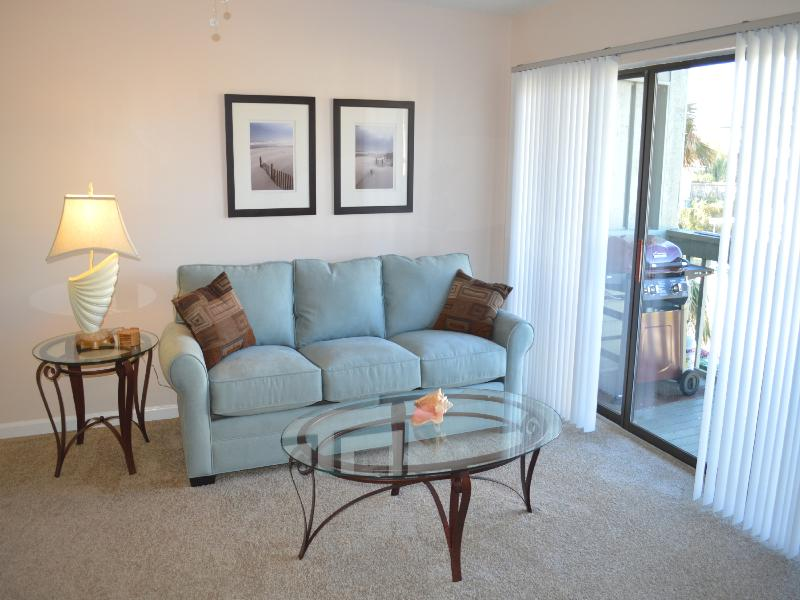 The Gathering Room: Couch and Balcony with Grill - Second level - Casual Beach Elegance Townhouse--Just Steps to the Beach-SUPER CLEAN - Jacksonville Beach - rentals