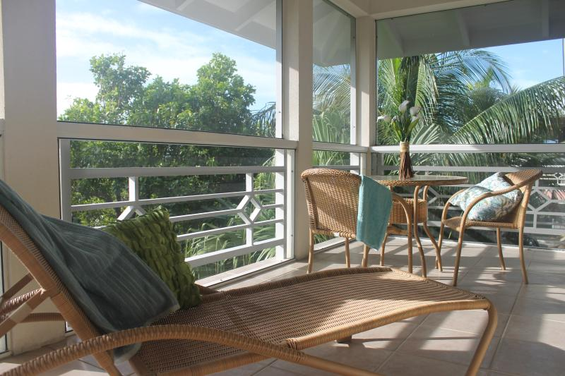 20 x 7 ft screened in patio, nestled within palm trees - Spacious & tranquil in the heart of Grace Bay - Grace Bay - rentals