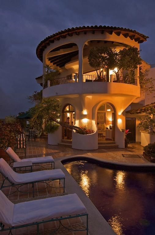 Terrace and poolside at dusk - Tropical Hillside Villa-Sweeping Ocean Vistas - Puerto Vallarta - rentals