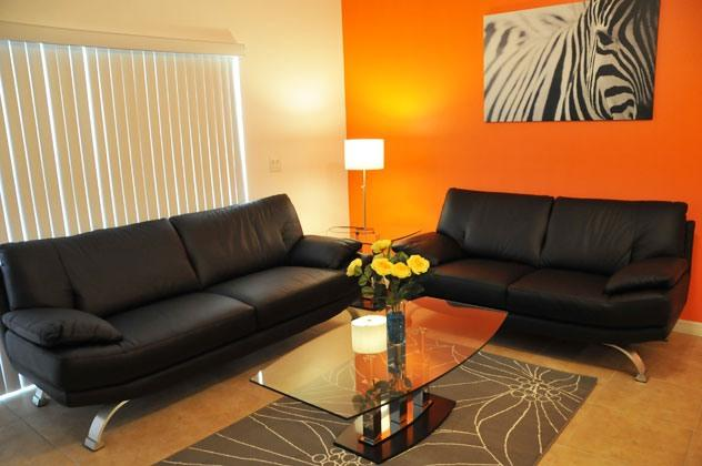 Modern Living Room with Italian Sofa. Disney - Modern 3 Bedroom Condo, Pet-Friendly, only 2 miles to Walt Disney - Kissimmee - rentals