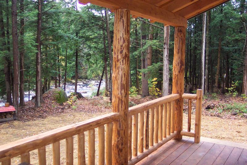 View from porch - Adirondack Log Cabin on Pristine River - Glenfield - rentals