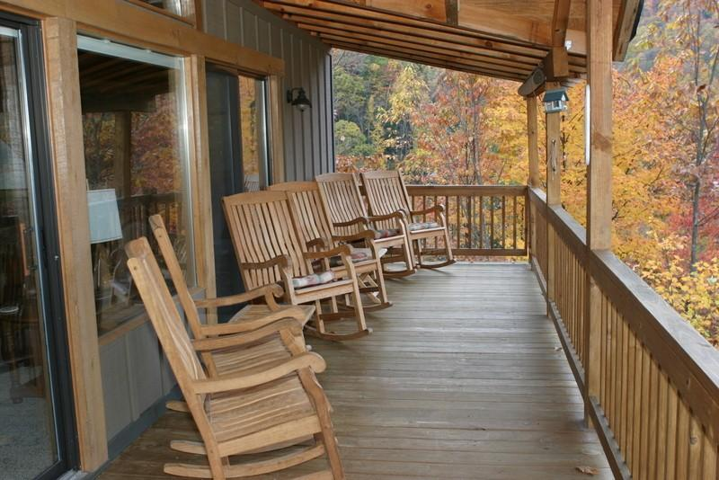 Front porch overlooking Maggie Valley - Buck Horn Lodge, 4 BR/3BA - Maggie Valley - rentals
