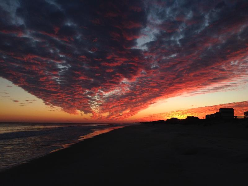 Fall sunset on the beach in front of the house is amazing! - Amazing Two Bedroom OCEANFRONT House- Topsail - North Topsail Beach - rentals