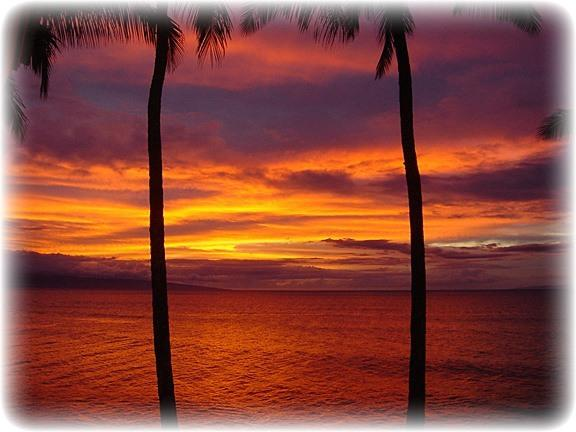 Breathtaking Maui sunset from our lanai while having dinner. - ** Amazing OCEANFRONT Sunsets ** Platinum Rated ** - Lahaina - rentals