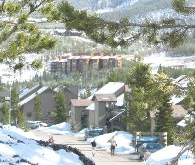 Skiers walking along condo road - Condo - Summer Fun - 3 Bdrm - Big Sky - rentals