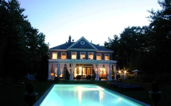 Pool at night - Live in Luxury in  the English Manor Home - East Hampton - rentals