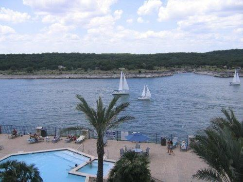 Overlooking pool from the deck - !! Lago Vista, Lake Travis.. Villa # 1301!!! - Lago Vista - rentals